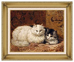 Henriette Ronner Knip Two Cats On A Cushion canvas with gallery gold wood frame
