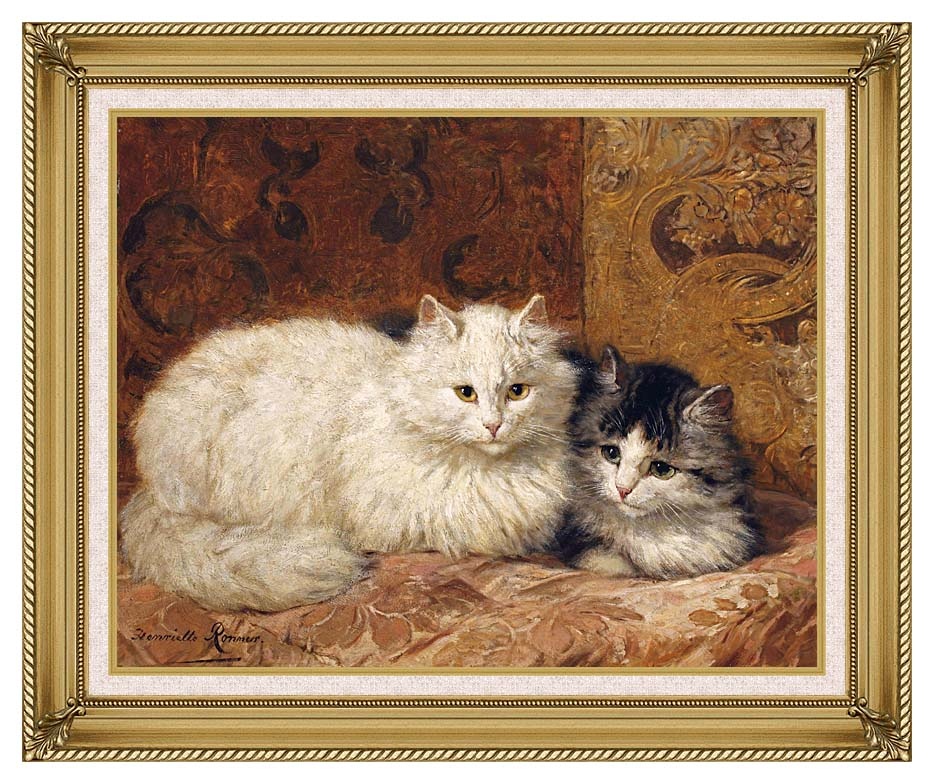 Henriette Ronner Knip Two Cats on a Cushion with Gallery Gold Frame w/Liner