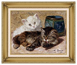 Henriette Ronner Knip Two Cute Kittens canvas with gallery gold wood frame