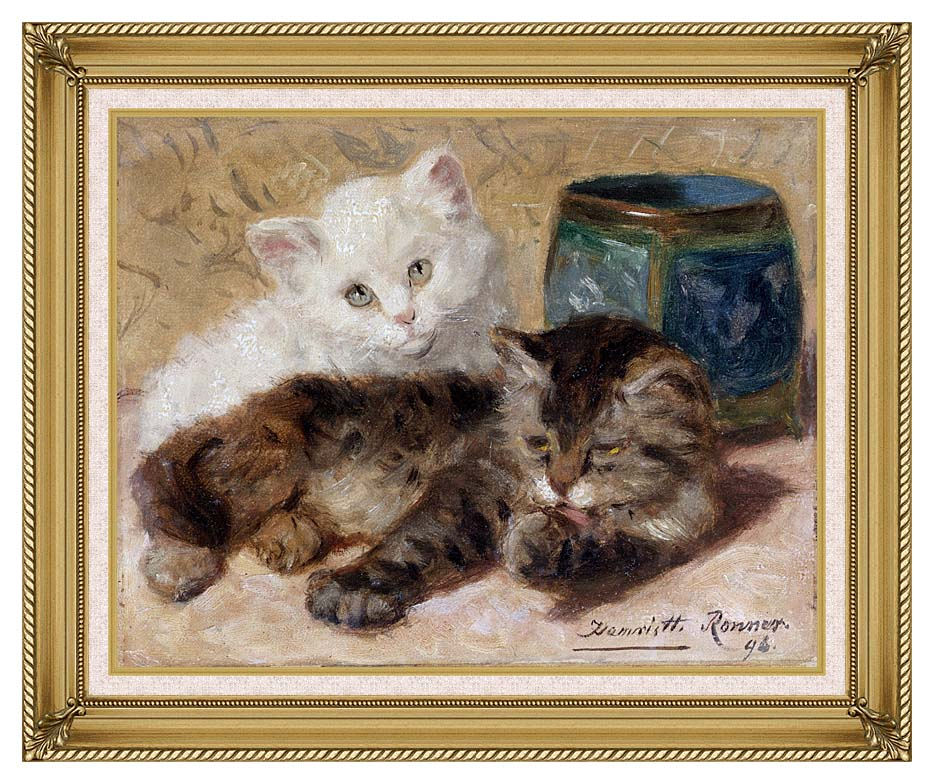 Henriette Ronner Knip Two Cute Kittens with Gallery Gold Frame w/Liner