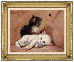 Henriette Ronner Knip Two Kittens canvas with gallery gold wood frame