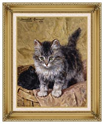 Henriette Ronner Knip Two Kittens In A Basket canvas with gallery gold wood frame