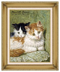 Henriette Ronner Knip Two Kittens Sitting On A Cushion canvas with gallery gold wood frame