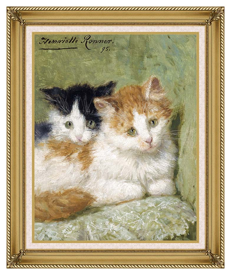 Henriette Ronner Knip Two Kittens Sitting on a Cushion with Gallery Gold Frame w/Liner