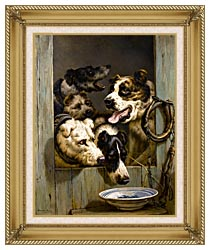 Henriette Ronner Knip Waiting For A Meal canvas with gallery gold wood frame
