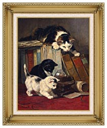 Henriette Ronner Knip Watching The Prey canvas with gallery gold wood frame