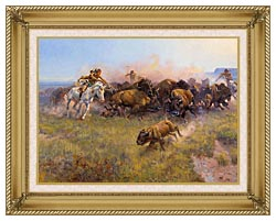 Charles Russell Buffalo Hunt No 39 canvas with gallery gold wood frame