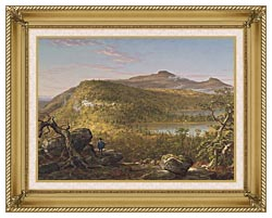 Thomas Cole A View Of The Two Lakes And Mountain House Catskill Mountains Morning canvas with gallery gold wood frame