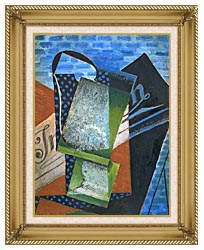 Juan Gris Abstraction canvas with gallery gold wood frame