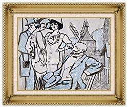 Juan Gris Aux Courses Des Longchamps canvas with gallery gold wood frame