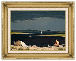 Martin Johnson Heade Approaching Thunder Storm canvas with gallery gold wood frame