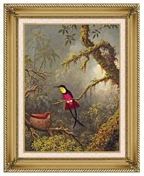Martin Johnson Heade A Pair Of Nesting Crimson Topaz Hummingbirds canvas with gallery gold wood frame