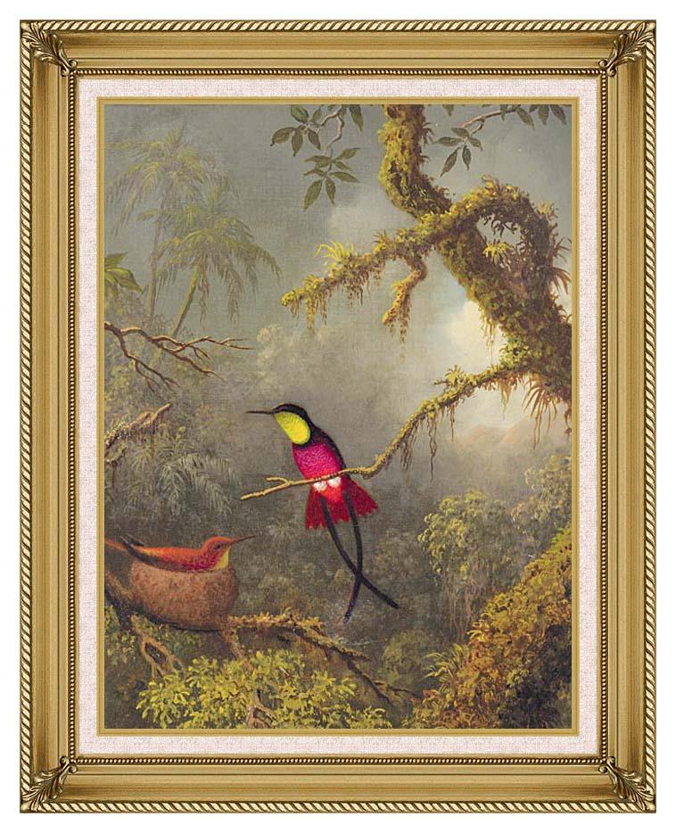 Martin Johnson Heade A Pair of Nesting Crimson Topaz Hummingbirds with Gallery Gold Frame w/Liner