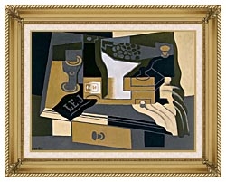 Juan Gris Coffee Grinder canvas with gallery gold wood frame