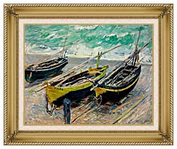 Claude Monet Three Fishing Boats canvas with gallery gold wood frame