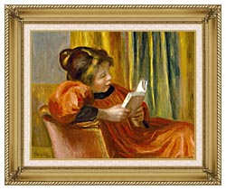 Pierre Auguste Renoir Girl Reading canvas with gallery gold wood frame