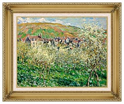Claude Monet Flowering Plum Trees canvas with gallery gold wood frame