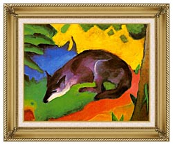 Franz Marc Blue Black Fox canvas with gallery gold wood frame