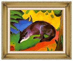 Franz Marc Blue Black Fox canvas with gallery gold wood frame