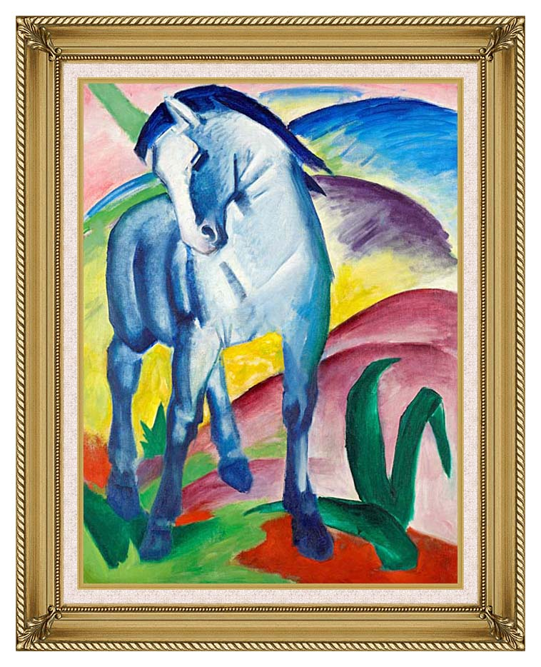 Franz Marc Blue Horse 1 with Gallery Gold Frame w/Liner