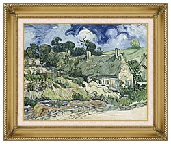 Vincent Van Gogh Thatched Cottages At Cordeville canvas with gallery gold wood frame