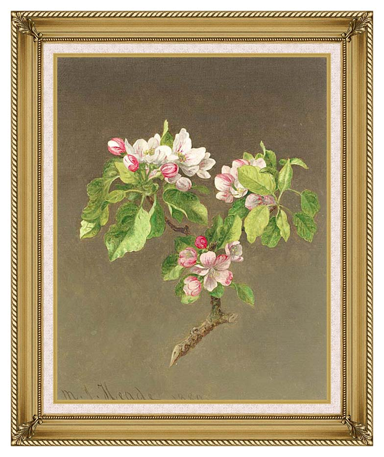 Martin Johnson Heade Apple Blossoms with Gallery Gold Frame w/Liner