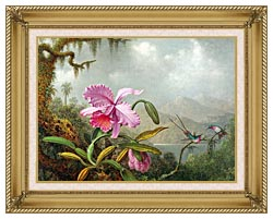 Martin Johnson Heade Orchids And Hummingbirds canvas with gallery gold wood frame