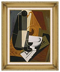 Juan Gris Coffee Pot canvas with gallery gold wood frame