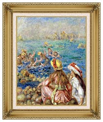 Pierre Auguste Renoir Baigneuses canvas with gallery gold wood frame