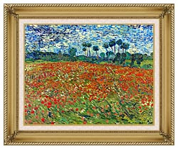 Vincent Van Gogh A Poppy Field canvas with gallery gold wood frame
