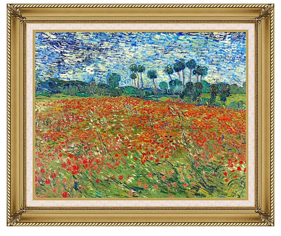 Vincent van Gogh A Poppy Field with Gallery Gold Frame w/Liner