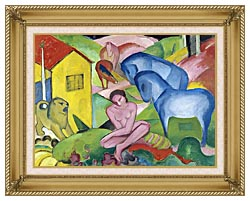 Franz Marc The Dream canvas with gallery gold wood frame