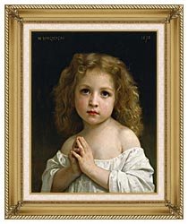 William Bouguereau Little Girl canvas with gallery gold wood frame