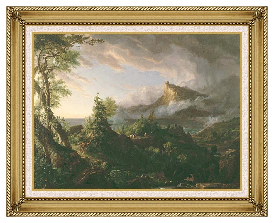 Thomas Cole The Course of Empire The Savage State with Gallery Gold Frame w/Liner