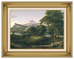 Thomas Cole The Course Of Empire The Arcadian Or Pastoral State canvas with gallery gold wood frame
