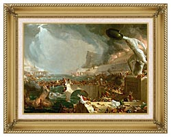 Thomas Cole The Course Of Empire Destruction canvas with gallery gold wood frame