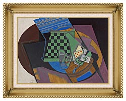 Juan Gris Checkerboard And Playing Cards canvas with gallery gold wood frame