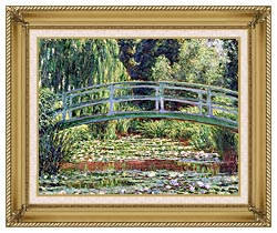 Claude Monet The Japanese Footbridge And The Water Lily Pool Giverny canvas with gallery gold wood frame