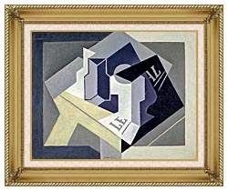 Juan Gris Frutero Y Periodico canvas with gallery gold wood frame