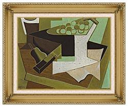 Juan Gris Grappe De Raisin Et Poire canvas with gallery gold wood frame