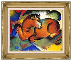 Franz Marc Red Bull canvas with gallery gold wood frame