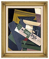 Juan Gris Grapes canvas with gallery gold wood frame