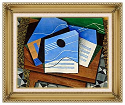 Juan Gris Guitar On A Table canvas with gallery gold wood frame