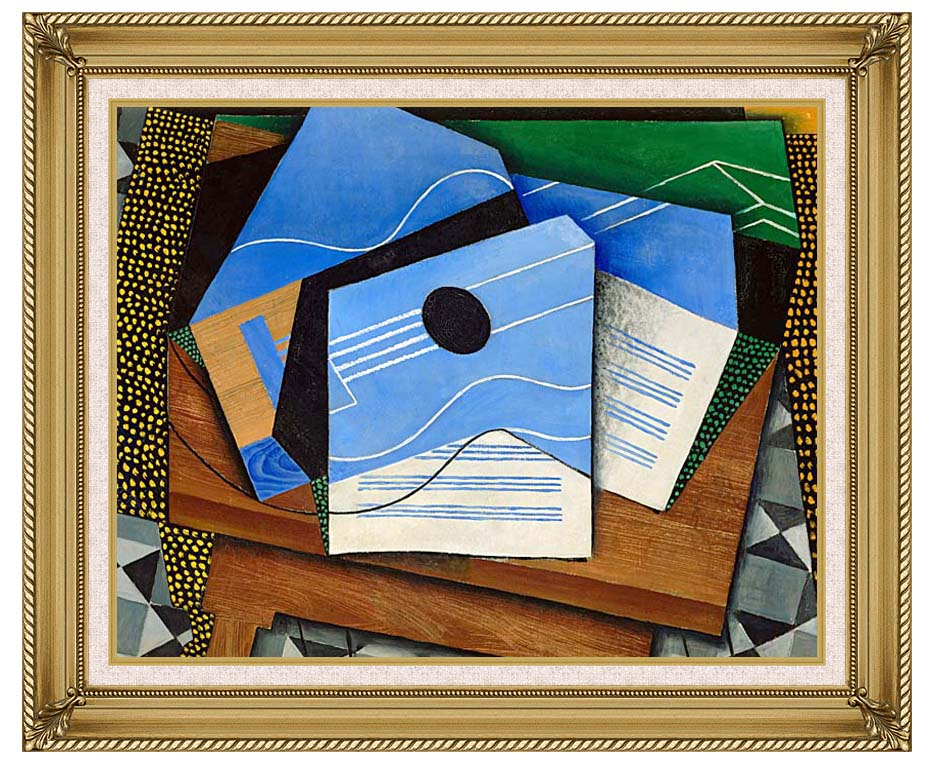 Juan Gris Guitar on a Table with Gallery Gold Frame w/Liner