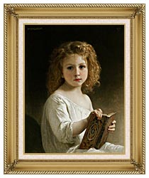 William Bouguereau The Story Book canvas with gallery gold wood frame