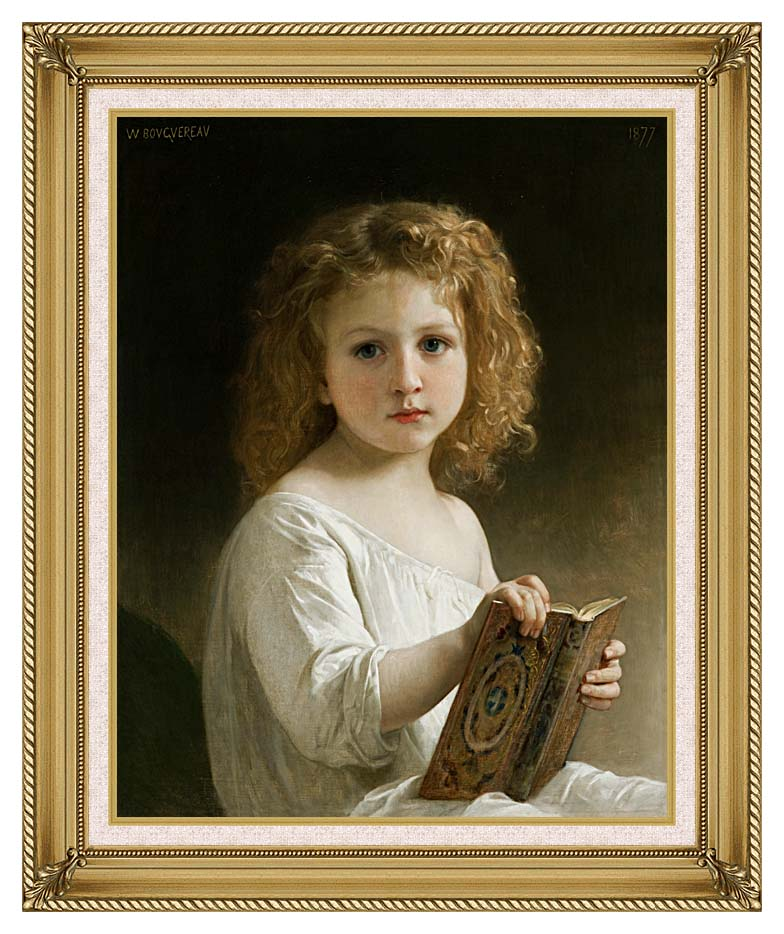 William Bouguereau The Story Book with Gallery Gold Frame w/Liner