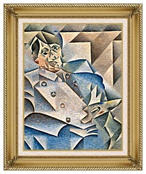 Juan Gris Portrait Of Pablo Picasso canvas with gallery gold wood frame
