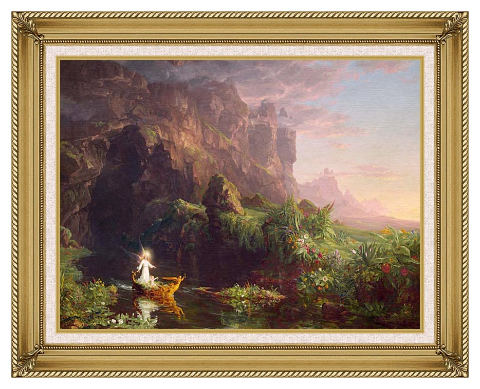 Thomas Cole Voyage of Life: Childhood 1842 with Gallery Gold Frame w/Liner