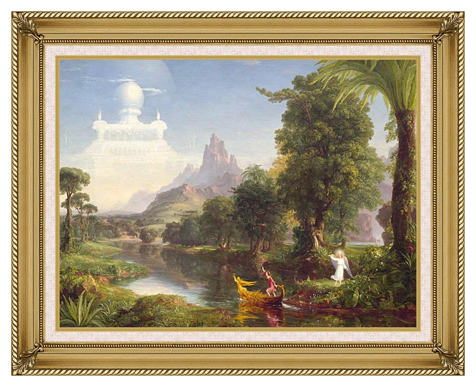 Thomas Cole Voyage of Life: Youth 1842 with Gallery Gold Frame w/Liner