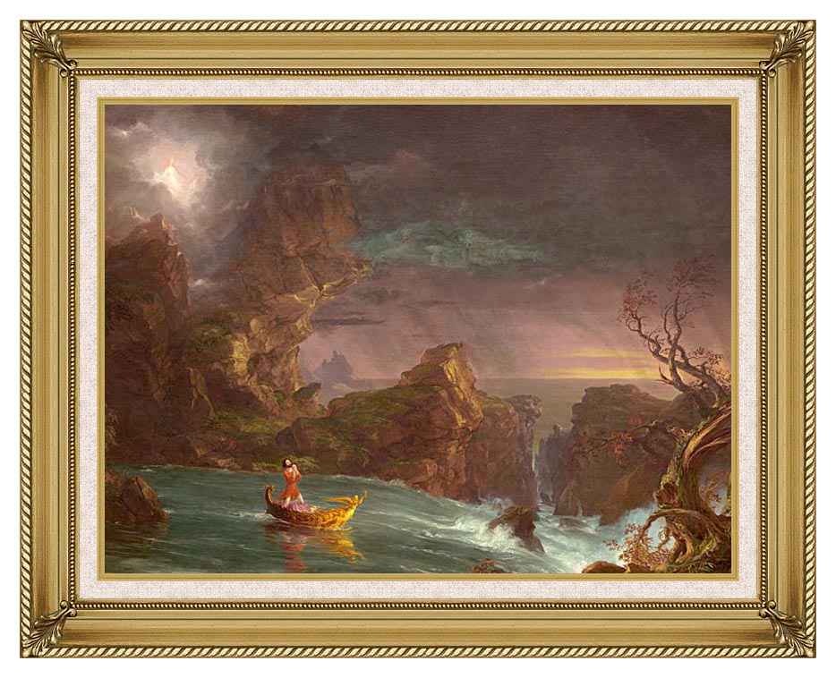 Thomas Cole Voyage of Life: Manhood 1842 with Gallery Gold Frame w/Liner
